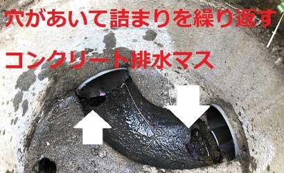 穴があいてつまりを繰り返すコンクリート排水マス