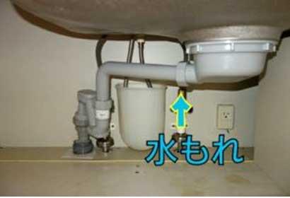 排水溝または排水パイプの水漏れ