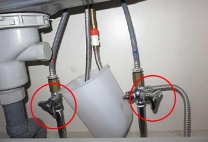 対処法①止水栓をしめる